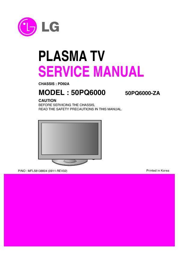 "lg 50pq6000 za chassis pd92a service manual view online or rh servlib com LG TV Schematics LG 32"" TV"
