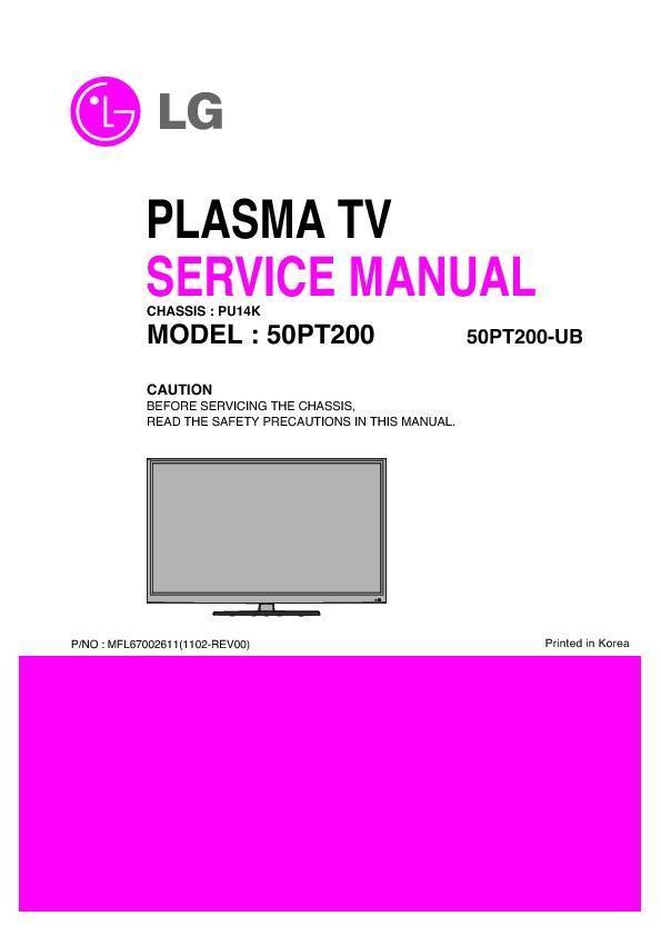 lg 50pt200 ub chassis pu14k service manual view online or rh servlib com tv lg 50 plasma manual tv lg 50 polegadas plasma manual