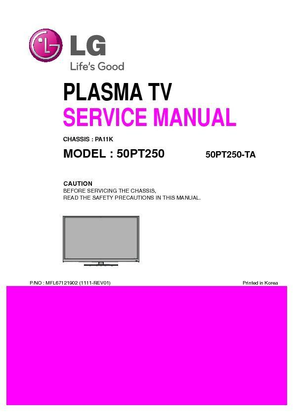 LG 50PT250-TA (CHASSIS:PA11K) Service Manual — View online