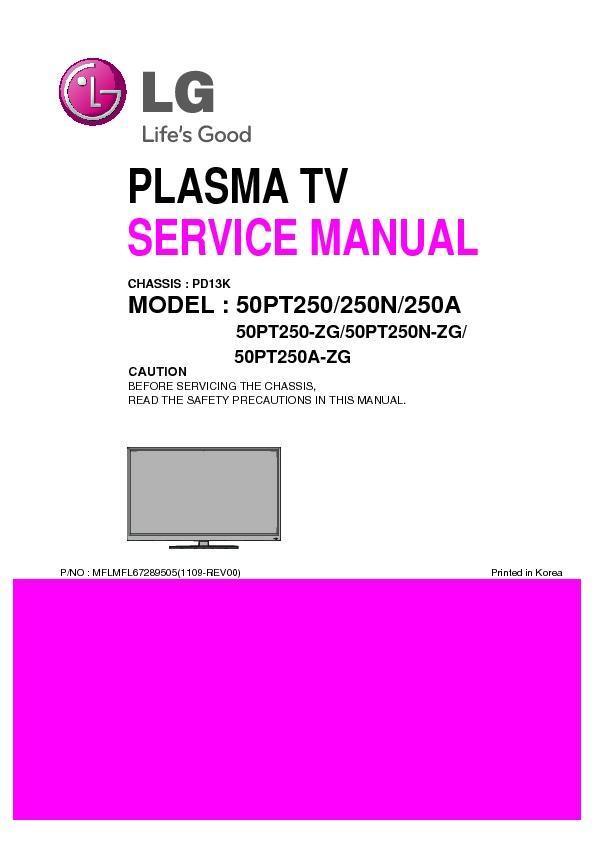 Lg 50pt250 Zg 50pt250a Zg 50pt250n Zg Chassis Pd13k Service Manual View Online Or Download Repair Manual