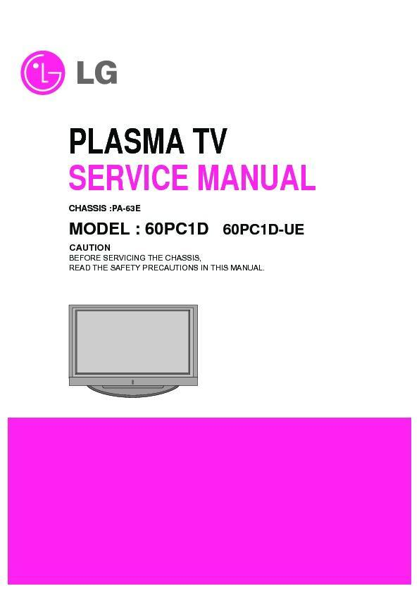 lg 60pc1dc ue chassis pa 63e service manual view online or rh servlib com Manual Book Service ManualsOnline