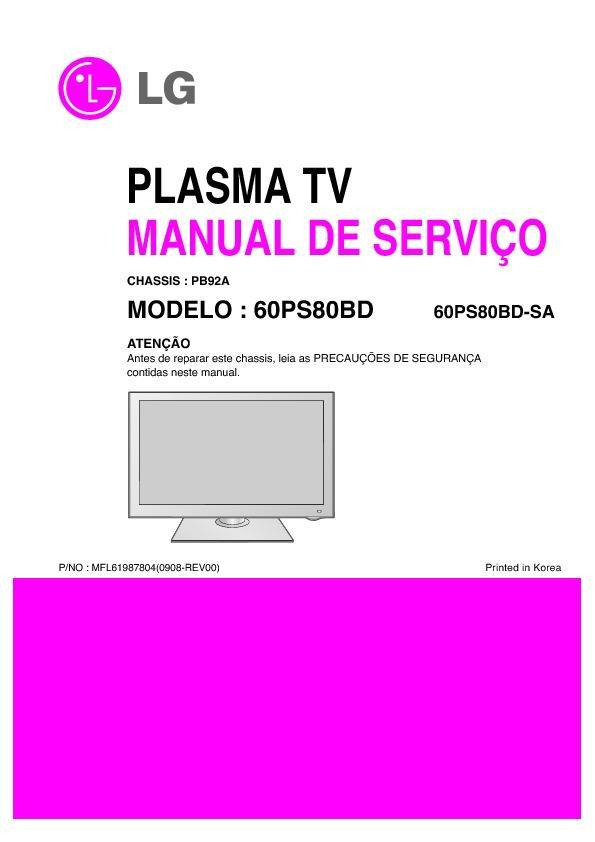 lg 60ps80bd sa chassis pb92a service manual view online or rh servlib com manual plasma lg manual plasma lg 50pa4500