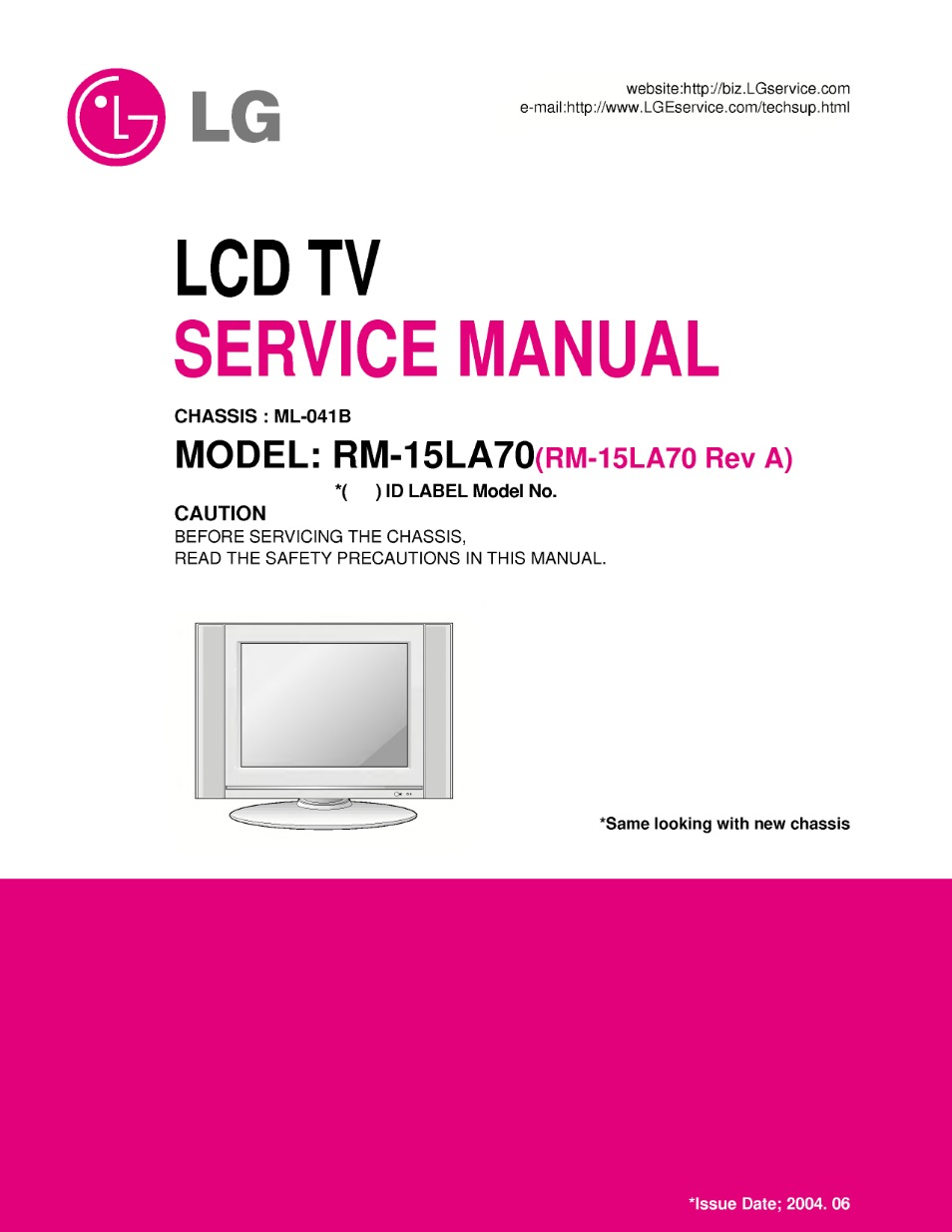 rm-15la70 (chassis:ml-041b) service manual