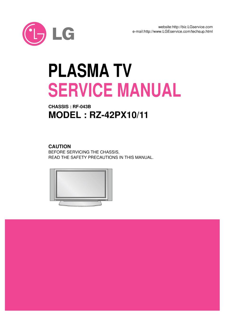 Lg rz42px11 service manual download, schematics, eeprom, repair.