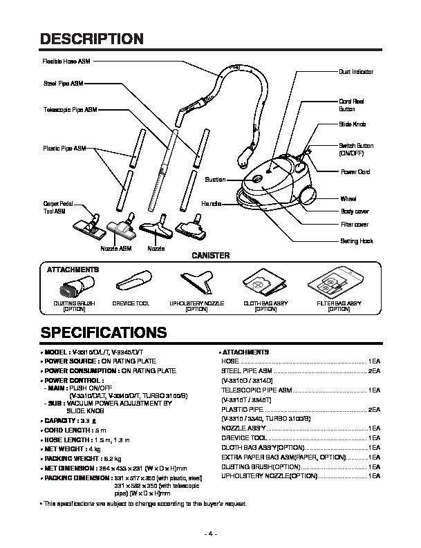 lg v 3310d service manual view online or download repair manual rh servlib com rainbow vacuum cleaner service manual lg vacuum cleaner service manual