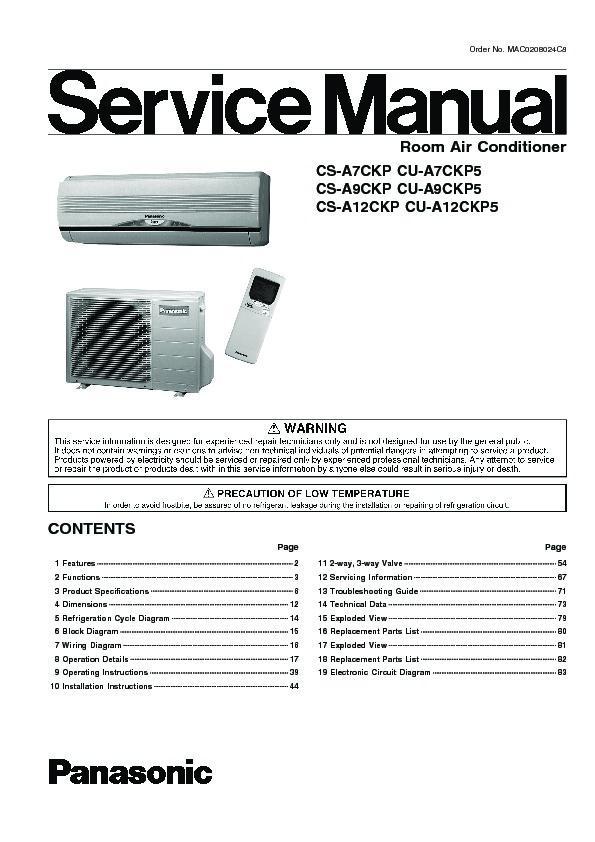 Panasonic Air Conditioner Wiring Diagram : Panasonic cs a ckp cu