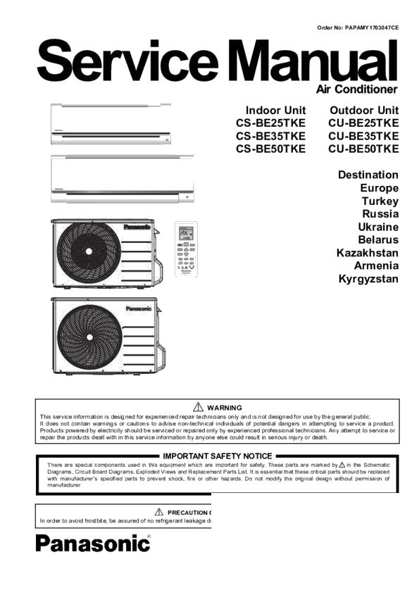 Panasonic CS-BE25TKE, CU-BE25TKE, CS-BE35TKE, CU-BE35TKE, CS