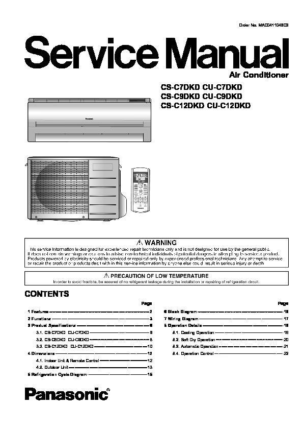 Panasonic Air Conditioner service manuals Page 4