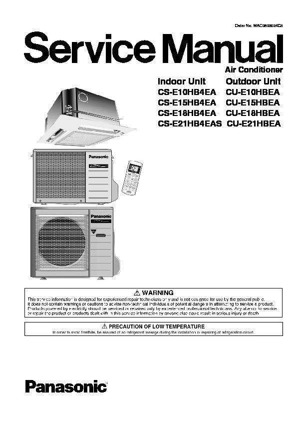 Panasonic Air Conditioner Installation Manual pdf split Type