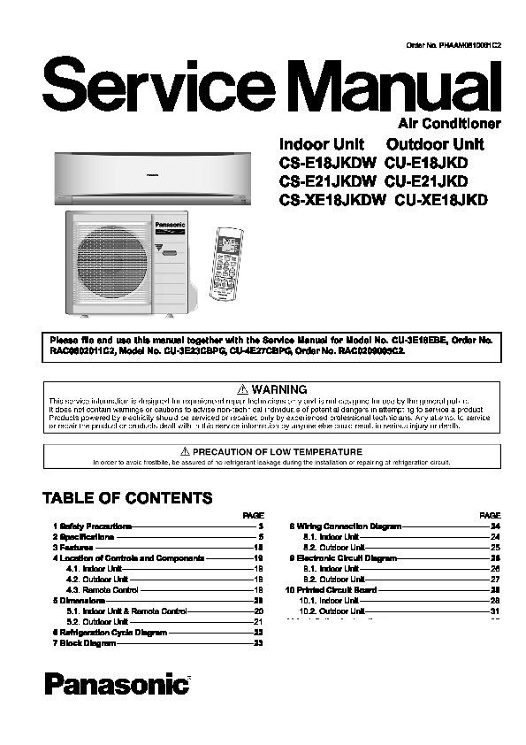 Panasonic Air Conditioner Wiring Diagram : Panasonic cs e jkdw cu jkd