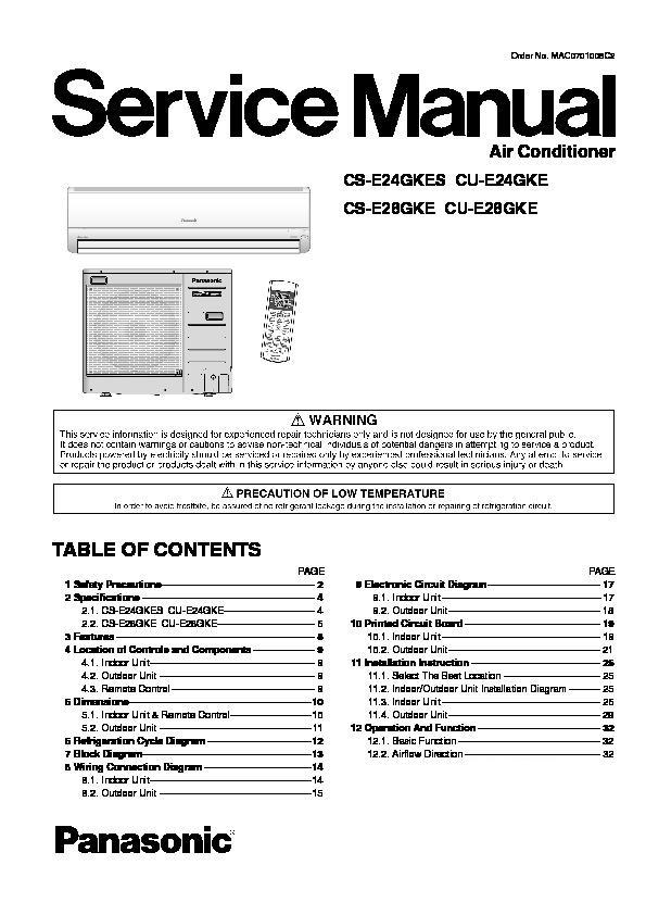 panasonic cs e24gkes cu e24gke cs e28gke cu e28gke service manual rh servlib com Panasonic Manual Ra 6800 Panasonic Cordless Phones
