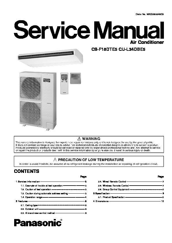 panasonic air conditioner manual