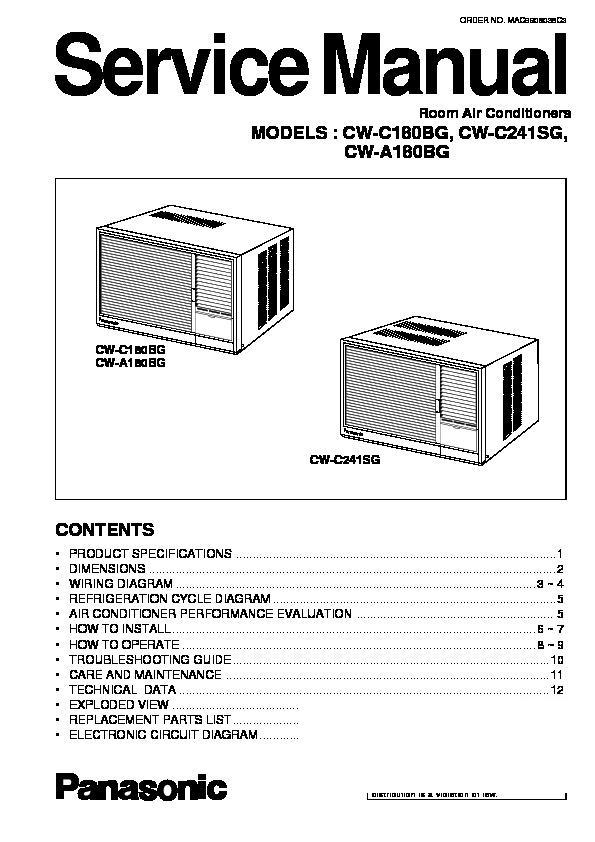 panasonic cw c180bg cw c241sg cw a180bg service manual view rh servlib com Kenmore Portable Air Conditioner Manual Window AC Installation Guide