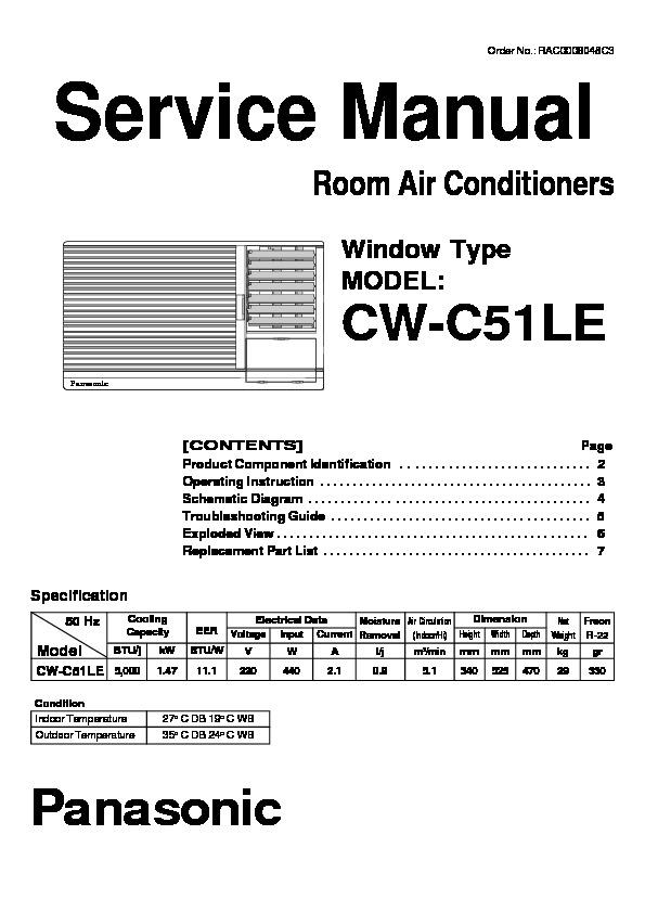 Panasonic CWC51LE Service Manual     View online or