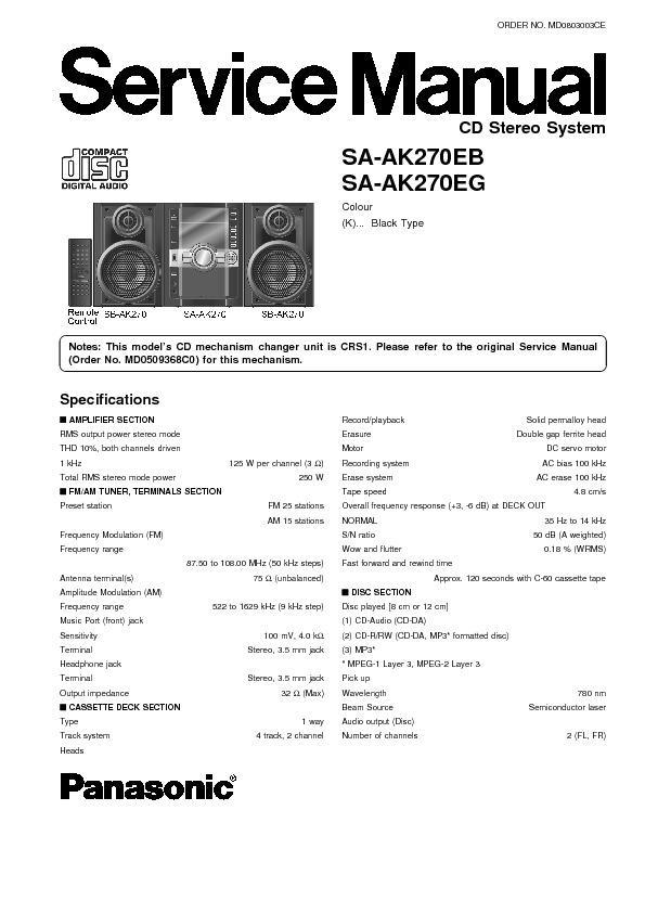 panasonic sa ak270eb sa ak270eg service manual view online or rh servlib com