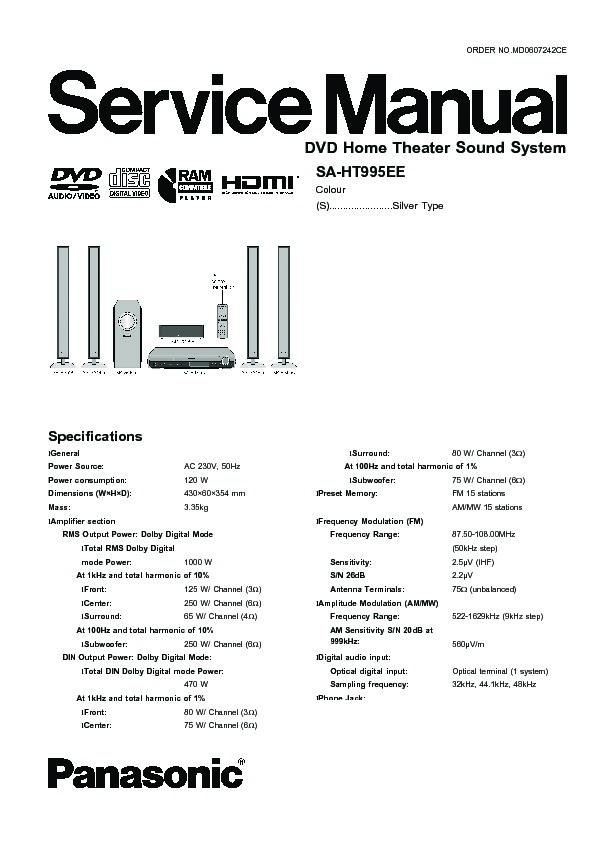 Panasonic SA-HT995EE Service Manual — View online or