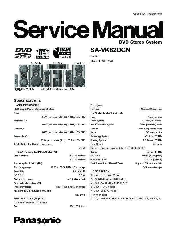 Panasnic sa-vk82d service manual pdf