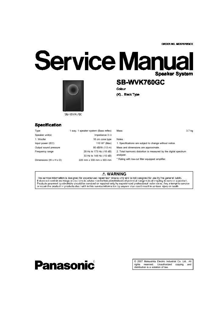 panasonic sb wvk760gc service manual view online or download rh servlib com Speedlight SB-28 Manual Nikon SB 28Dx Flash