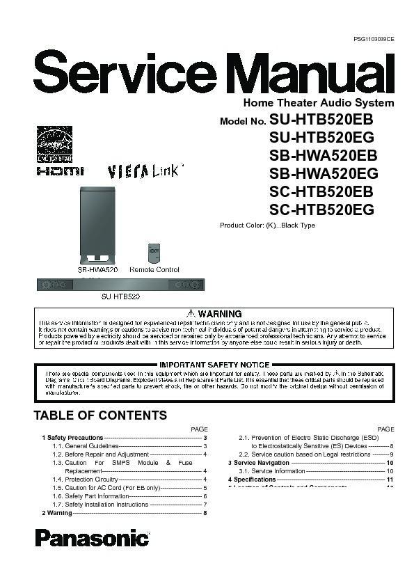 Panasonic SU-HTB520EB, SU-HTB520EG, SB-HWA520EB, SB-HWA520EG, SC ...