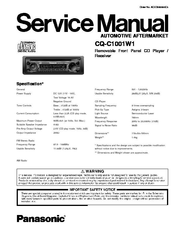 panasonic cq c1001w1 service manual view online or download repair rh servlib com