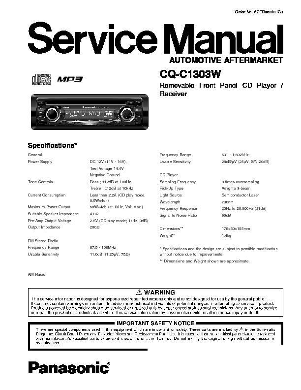 panasonic cq c1303w service manual view online or download repair rh servlib com Back of Panasonic Receiver Panasonic Home Theater