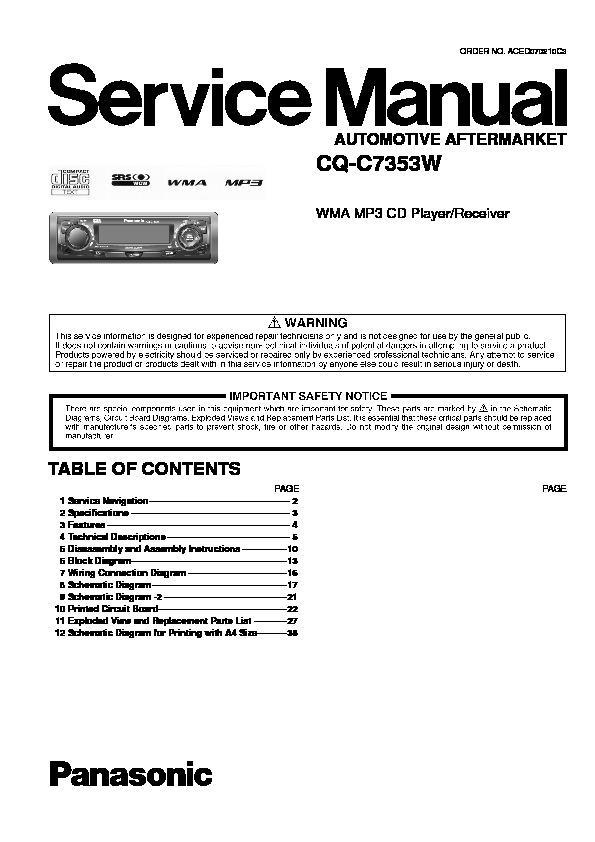 panasonic car audio service manuals page 13 on GE Microwave Oven Wiring Diagram CB Radio Mic Wiring Diagrams for panasonic cq c7353w service manual