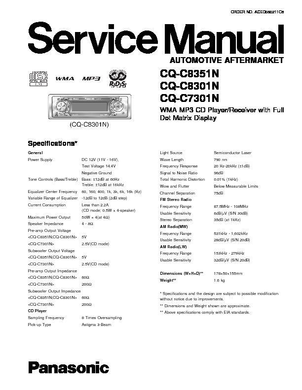panasonic car audio service manuals page 13 on GE Microwave Oven Wiring Diagram CB Radio Mic Wiring Diagrams for panasonic cq c8351n, cq c8301n, cq c7301n service manual