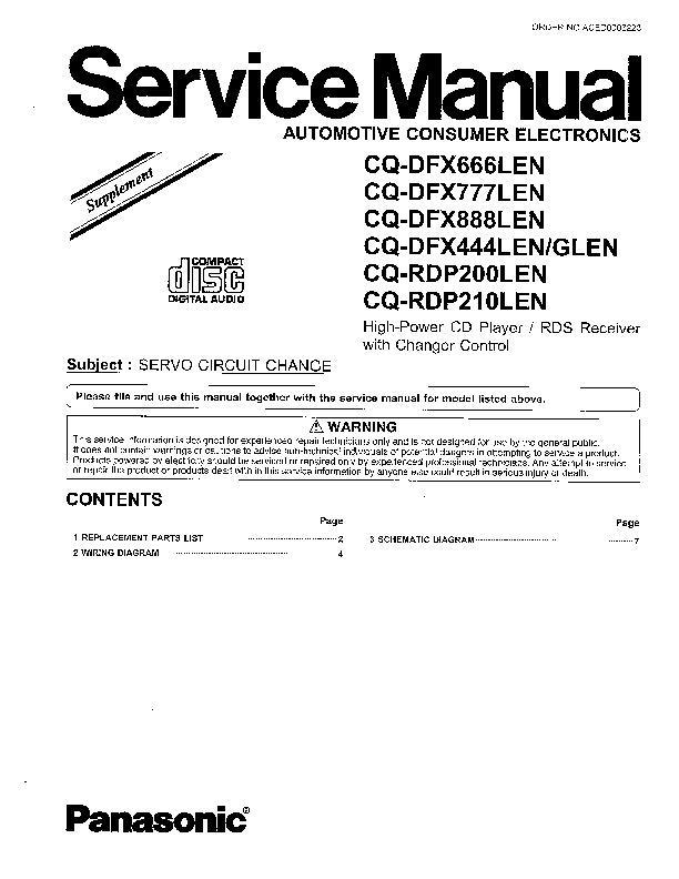 Инструкция panasonic cq dfx783n