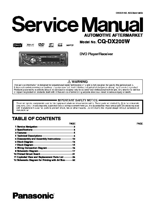 Admirable Panasonic Cq Dx200W Service Manual View Online Or Download Repair Wiring 101 Akebretraxxcnl