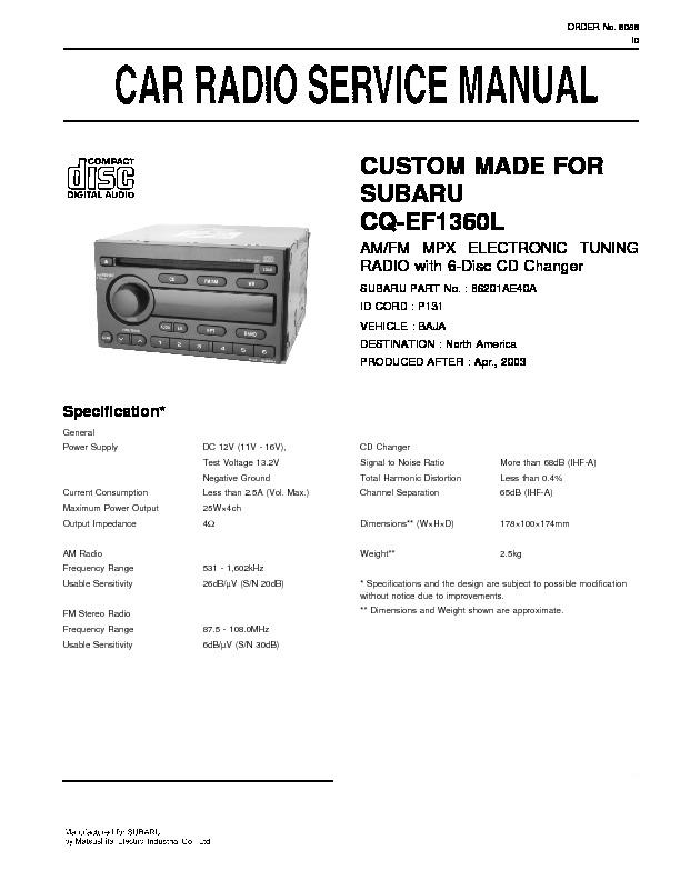 panasonic cq ef1360l service manual view online or download repair rh servlib com car audio service manual pdf pioneer car audio service manual
