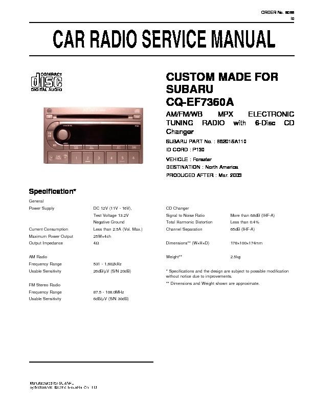 panasonic cq ef7360a service manual view online or. Black Bedroom Furniture Sets. Home Design Ideas