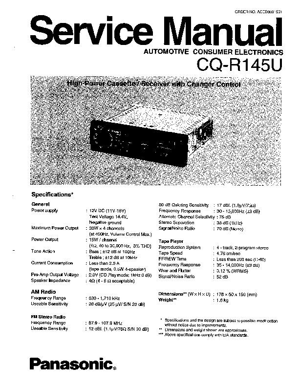 panasonic cq r145u service manual view online or download repair rh servlib com CD Player Military Manual CD