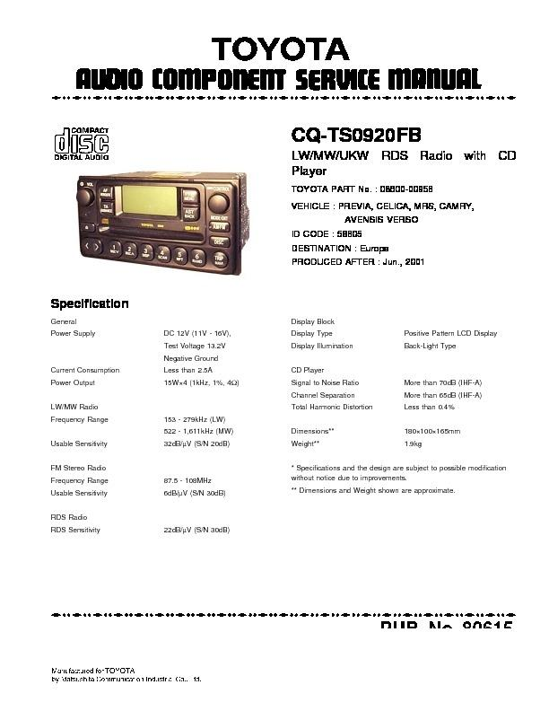 Panasonic Car Audio Manuals