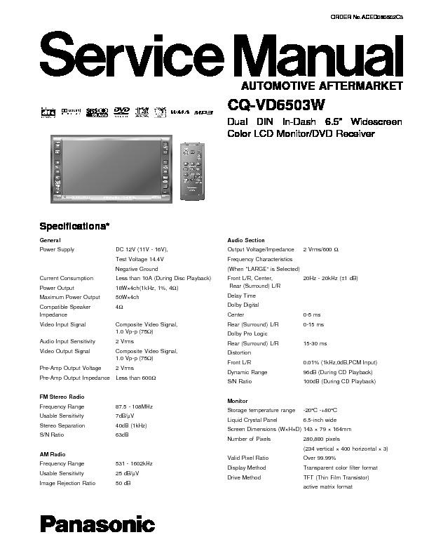 Panasonic Cq Vd6503w Service Manual View Online Or Download