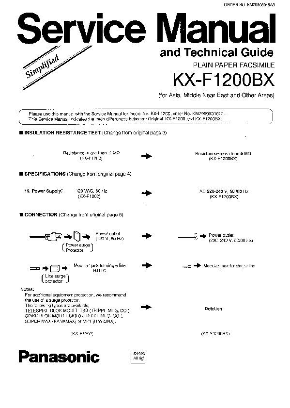 panasonic kx f1200 service manual view online or download repair rh servlib com Panasonic Kx 500 Bateries Panasonic Corded Phone KX-TS500