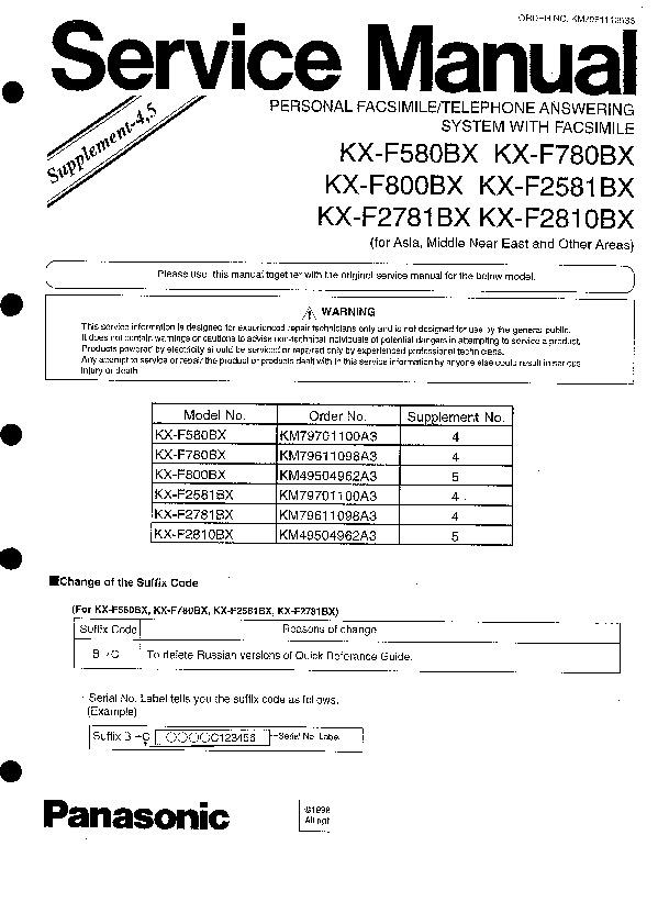 Инструкция panasonic kx f580bx