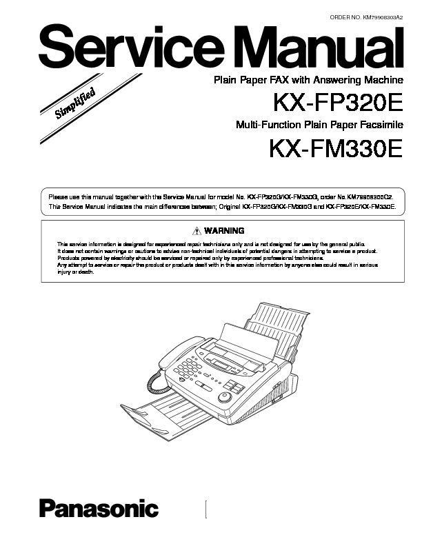 panasonic kx fp320e kx fm330e service manual simplified view rh servlib com Panasonic Fax Machine Troubleshooting Panasonic Fax and Answering Machine