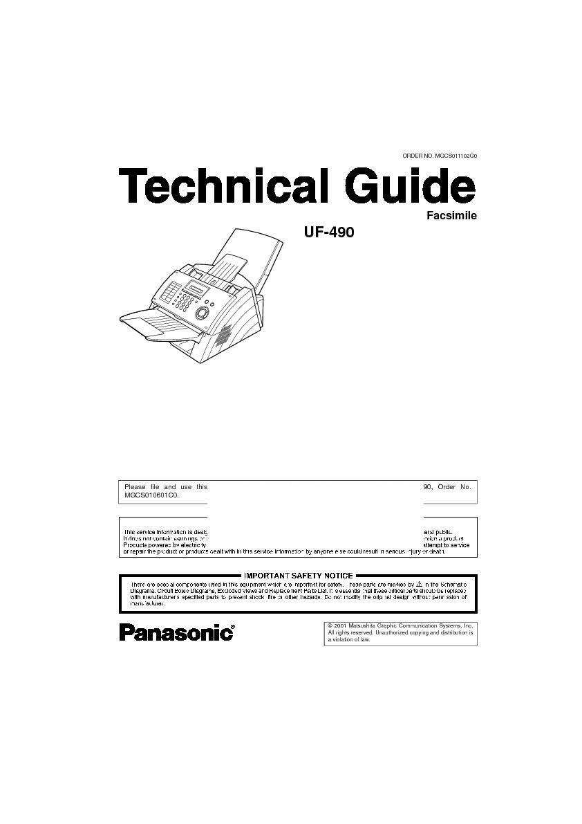 panasonic uf 490 other service manuals view online or download rh servlib com Panafax Senf Transmission Report Panafax UF- 8200