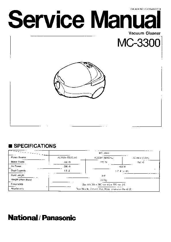panasonic mc 3300 serv man2 service manual view online or rh servlib com service manual bosch vacuum cleaner Manual Vacuum Aspiration