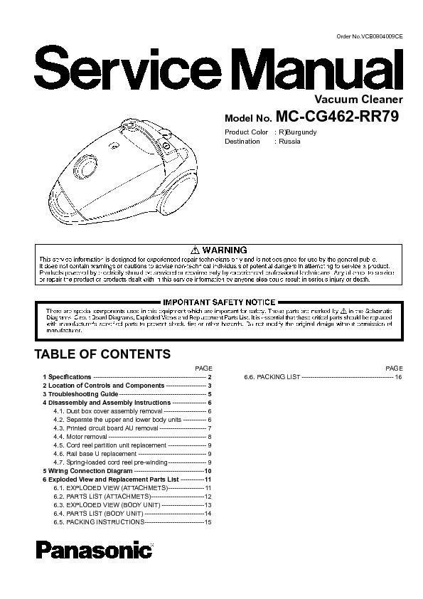 panasonic mc cg462 rr79 mc cg462rr79 service manual view online rh servlib com Sebo Vacuum Cleaners Vintage Hoover Vacuum Cleaners