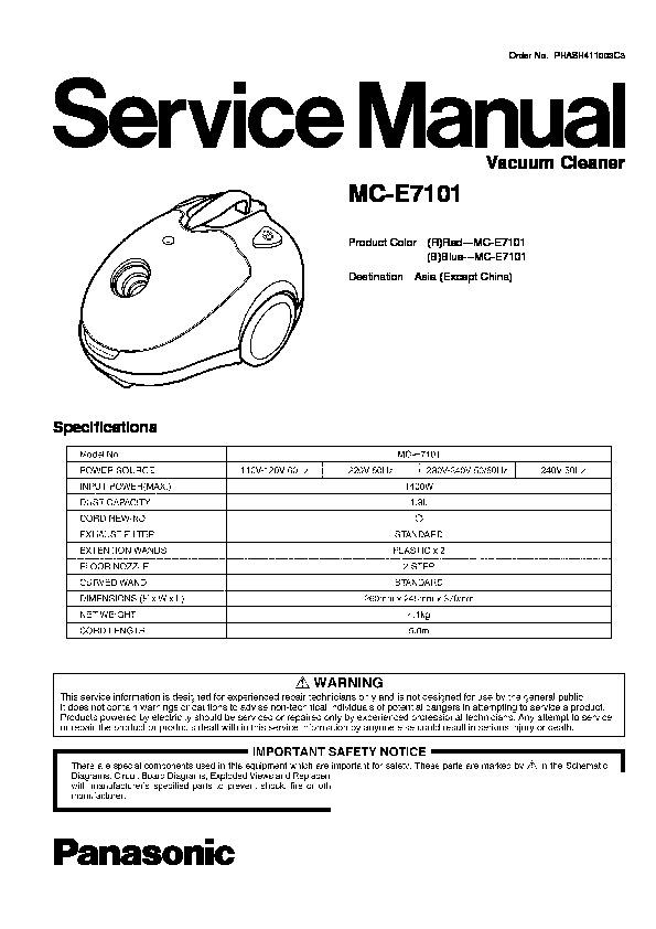 panasonic mc e7101 service manual view online or download repair rh servlib com Best Upright Vacuum Cleaner Vintage Hoover Vacuum Cleaners