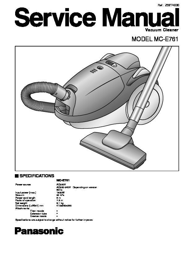 panasonic mc e761 service manual view online or download repair manual rh servlib com Vintage Hoover Vacuum Cleaners Panasonic Bagless Vacuum Cleaner