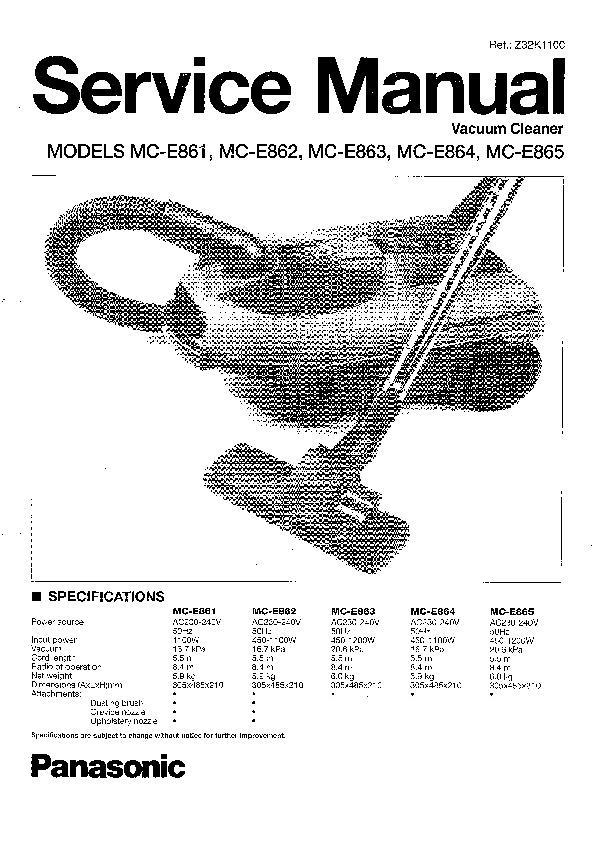 panasonic mc e861 mc e862 mc e863 mc e864 mc e865 serv man2 rh servlib com Panasonic Canister Vacuum Cleaners Sebo Vacuum Cleaners