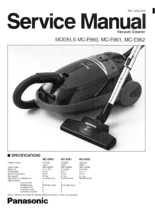 panasonic mc e960 mc e961 mc e962 service manual view online or rh servlib com Hoover Convertible Vacuum Cleaner Vintage Hoover Vacuum Cleaners