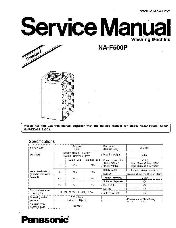 panasonic home appliance service manuals