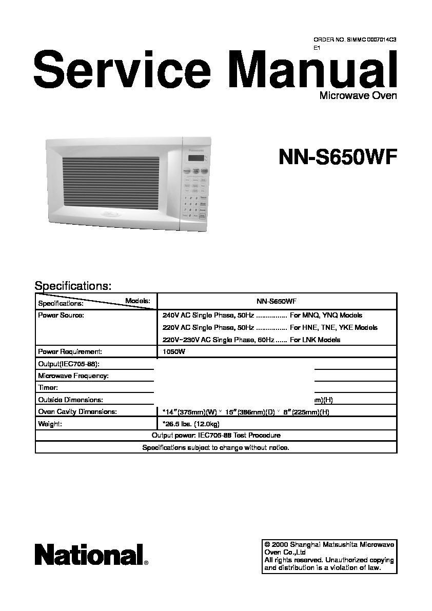 Panasonic Nn S650wf Service Manual