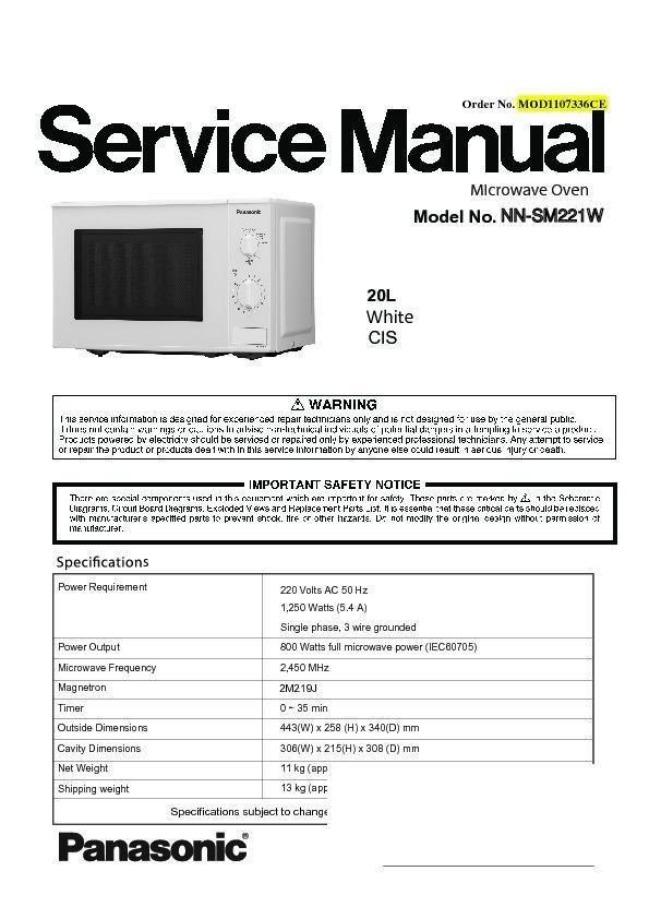 panasonic nn sm221wzpe service manual view online or download rh servlib com NAVAIR Technical Manuals NAVAIR Technical Manuals