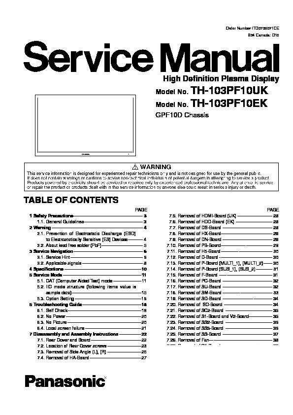 panasonic th 103pf10uk th 103pf10ek service manual view. Black Bedroom Furniture Sets. Home Design Ideas