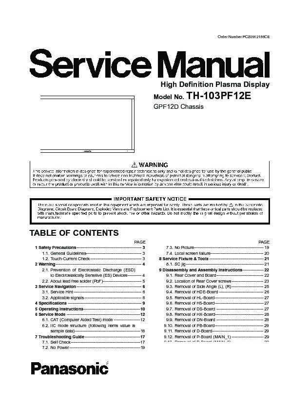panasonic th 103pf12e service manual view online or download rh servlib com panasonic plasma tv repair manual panasonic viera owners manual