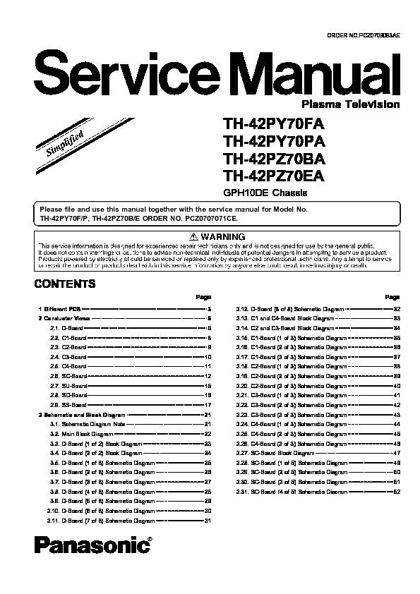 panasonic th 42py70fa th 42py70pa th 42pz70ba th 42pz70ea service rh servlib com panasonic plasma tv service manual panasonic viera repair manual